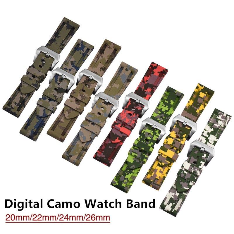 20 22 24 26mm atacado camo cor à prova dwaterproof água silicone borracha substituição pulseira de relógio pulseira para pam lumin