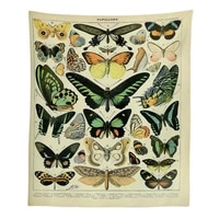 retro style tapestry home decoration potted plants butterfly fruit ore illustrated book decorative tapestry wall hanging