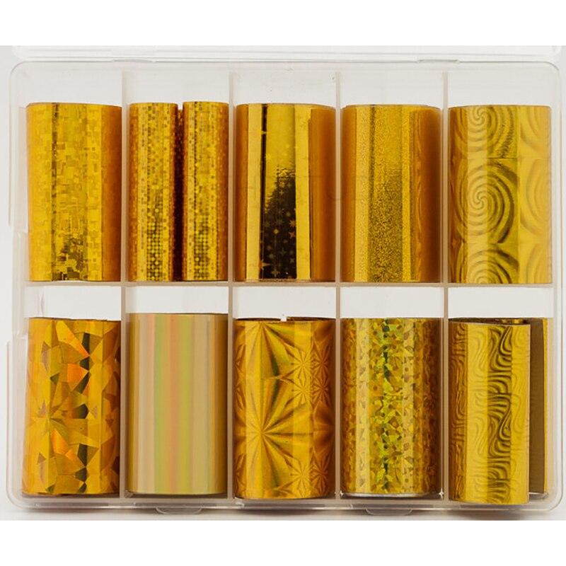 10 rollen/Box Holographische Nail art Folie Set Charme Gradienten Gold Transfer Wraps Aufkleber 4*100cm DIY maniküre Design-Decals -88H & * &