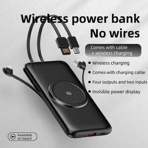 20000 мАч беспроводной зарядный внешний аккумулятор литий-полимерный с USB A Type C кабель IOS