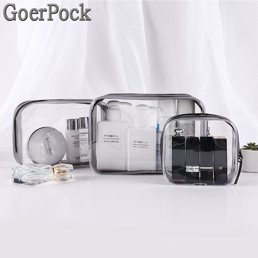New Travel Transparent PVC Cosmetic Bags Women Zipper Clear Makeup Bags Beauty Make Up Organizer Sto