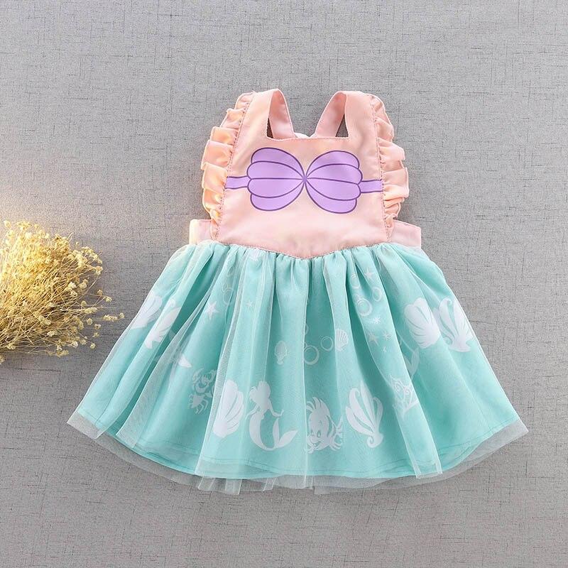 Vestido de princesa para niñas pequeñas, disfraz de Elsa blanca nieve para niños, ropa informal de verano para bebés, Túnica infantil, monos