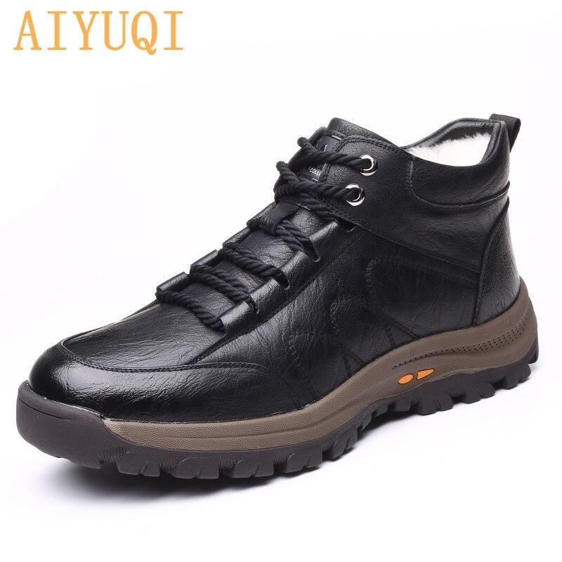 AIYUQI الرجال أحذية الشتاء جديد ستوكات الأحذية الجلدية الرجال الدانتيل متابعة الدافئة أحذية عالية الجودة غير رسمية كبيرة الحجم 38-46 الذكور الأح...