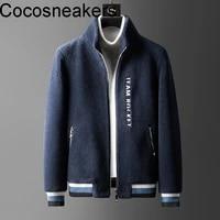giant warm thickened granular fleece warm stand collar coat winter imitation lamb wool fashion trend sheep wool jacket men
