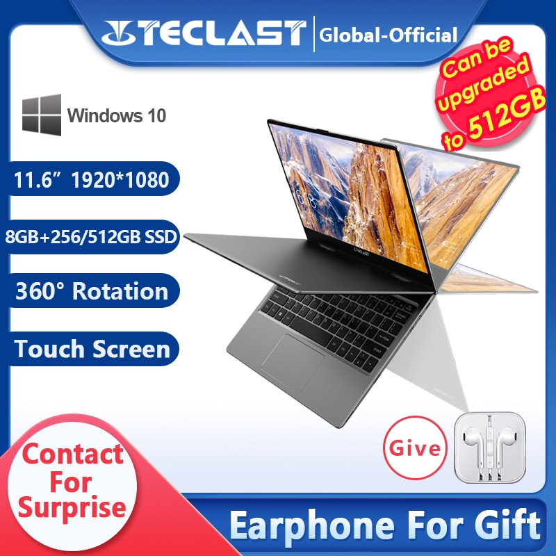 Teclast F5 F5R Laptop Intel Gemini Lake 8GB RAM 256GB 512GBSSD Windows10 360 Rotating Touch Screen 11.6