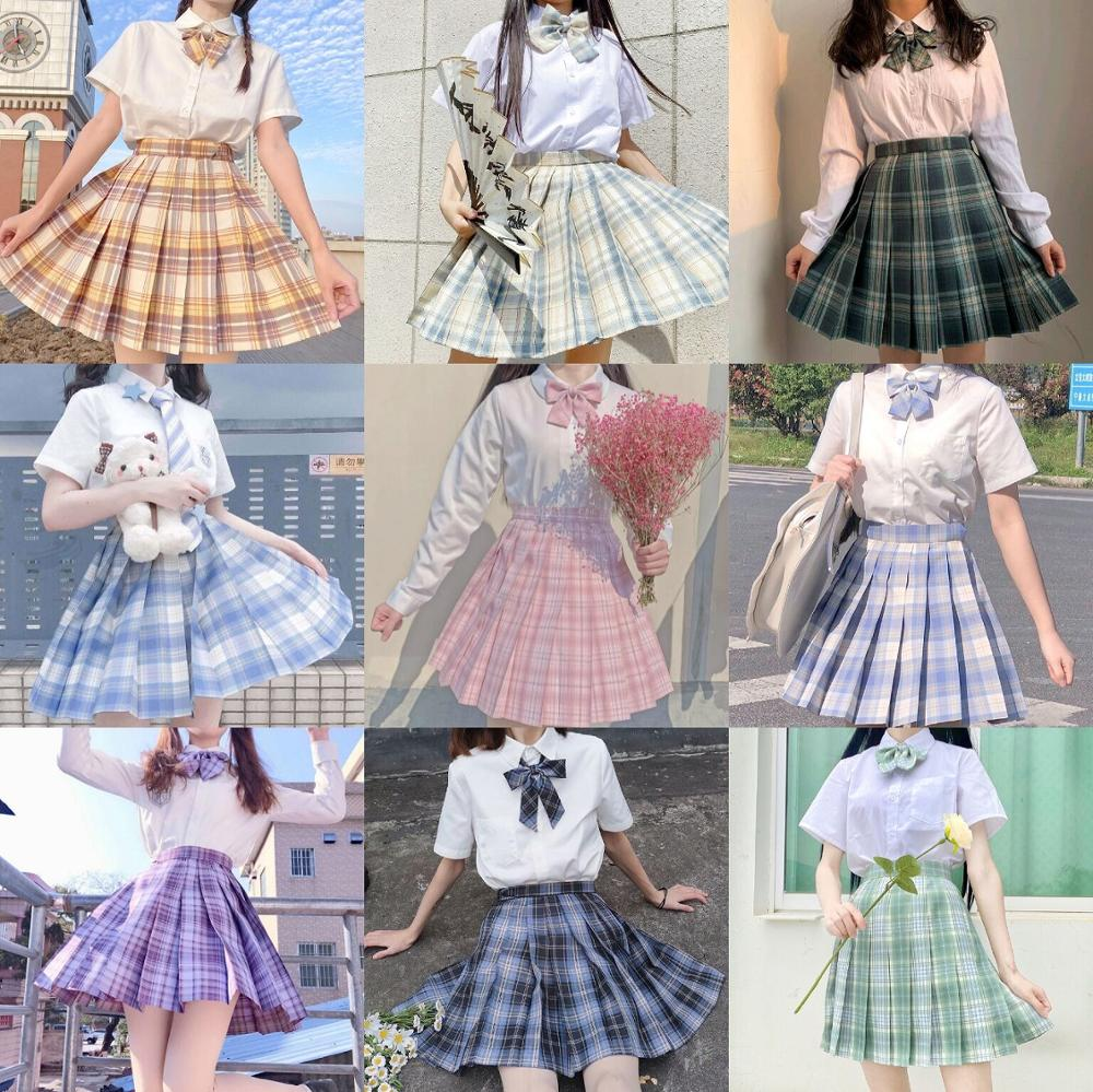 School Girl Uniform Pleated Skirts Japanese School Uniform High Waist A-Line Plaid Skirt Sexy JK Uniforms for Woman Full set