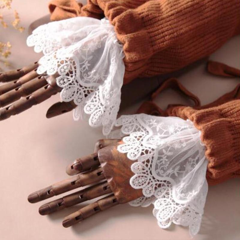 White Women Fake Cuffs Lace Wrist Warmers Black Flare Sleeve DIY False Cuff For Sweater Blouse Apparel Decor