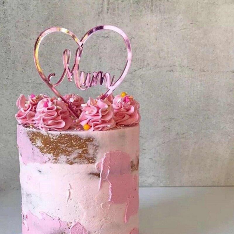 """1pcs coração cupcake toppers """"mãe"""" toppers para o chá de fraldas bolo topper casamento dia das mães personalizado decoração do bolo"""