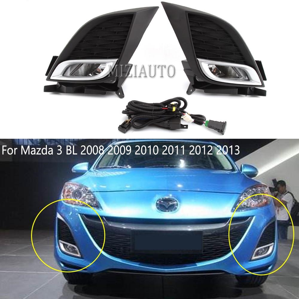 Front Bumper Fog Light Sets For Mazda 3 BL 2008 2009 2010 2011 2012 2013 Hatchback Sedan kit chrome Fog Lamp Modification