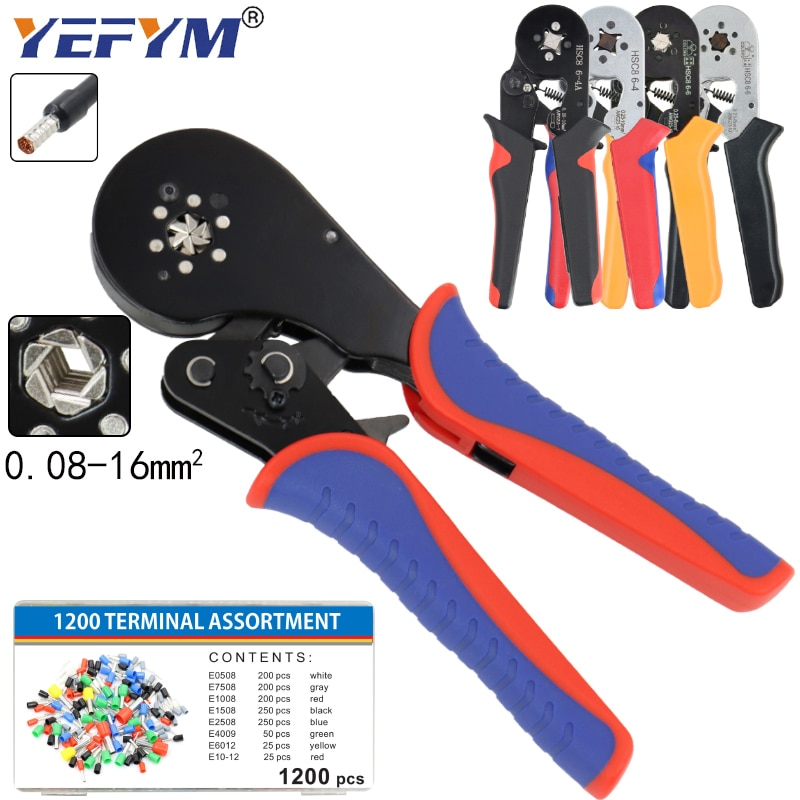 crimping tool set crimp tools wire crimping tool kit ferrule crimping plier tools 1200pcs wire ferrule terminals kit 0 25 10mm² Ferrule Crimping Tool Kit - Sopoby Ferrule Crimper Plier 0.08-16mm2 /1200pcs Wire Ferrules Crimp Wire Ends Terminal