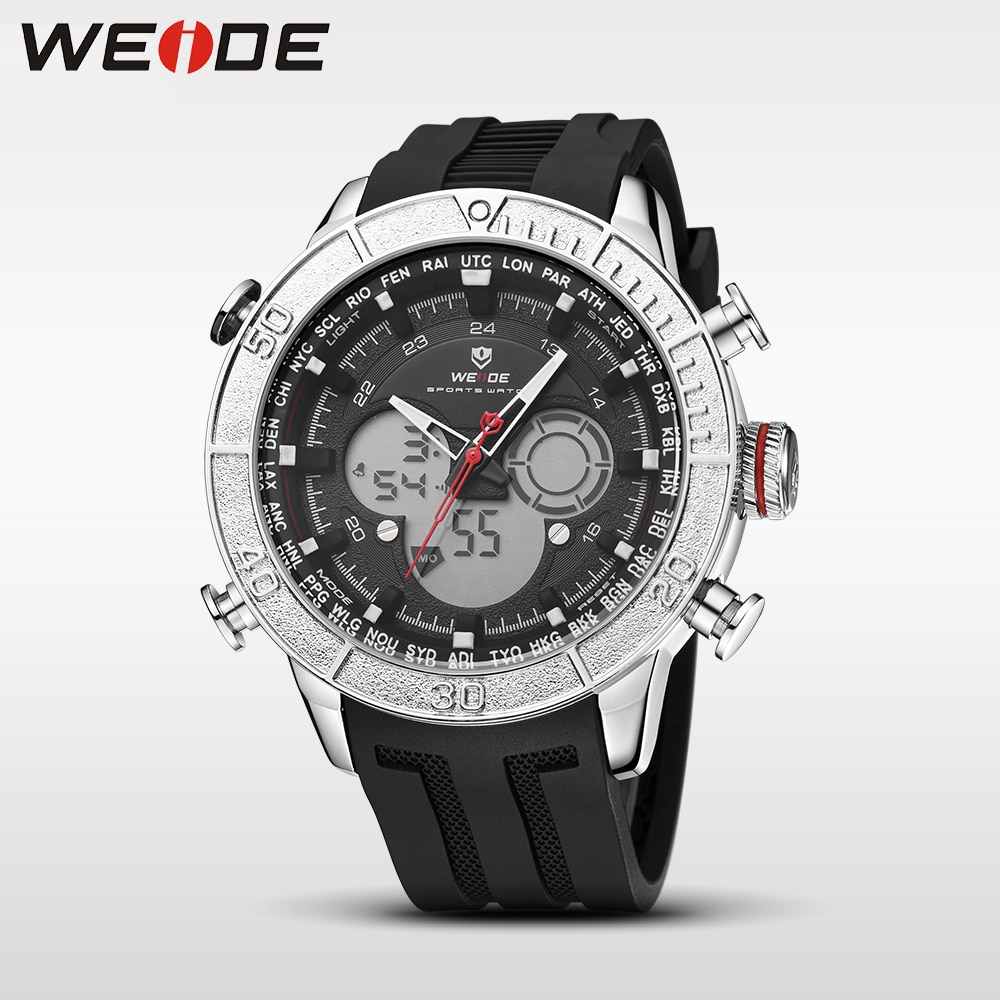 WEIDE Men Watch Casual Quartz Movement Clock LCD Digital Analog Nylon Strap Camouflage Dial Wristwatch Relogio Masculino Watch weide men watches sports military strap white dial movement analog clock quartz wristwatches waterproof relogio masculino reloj