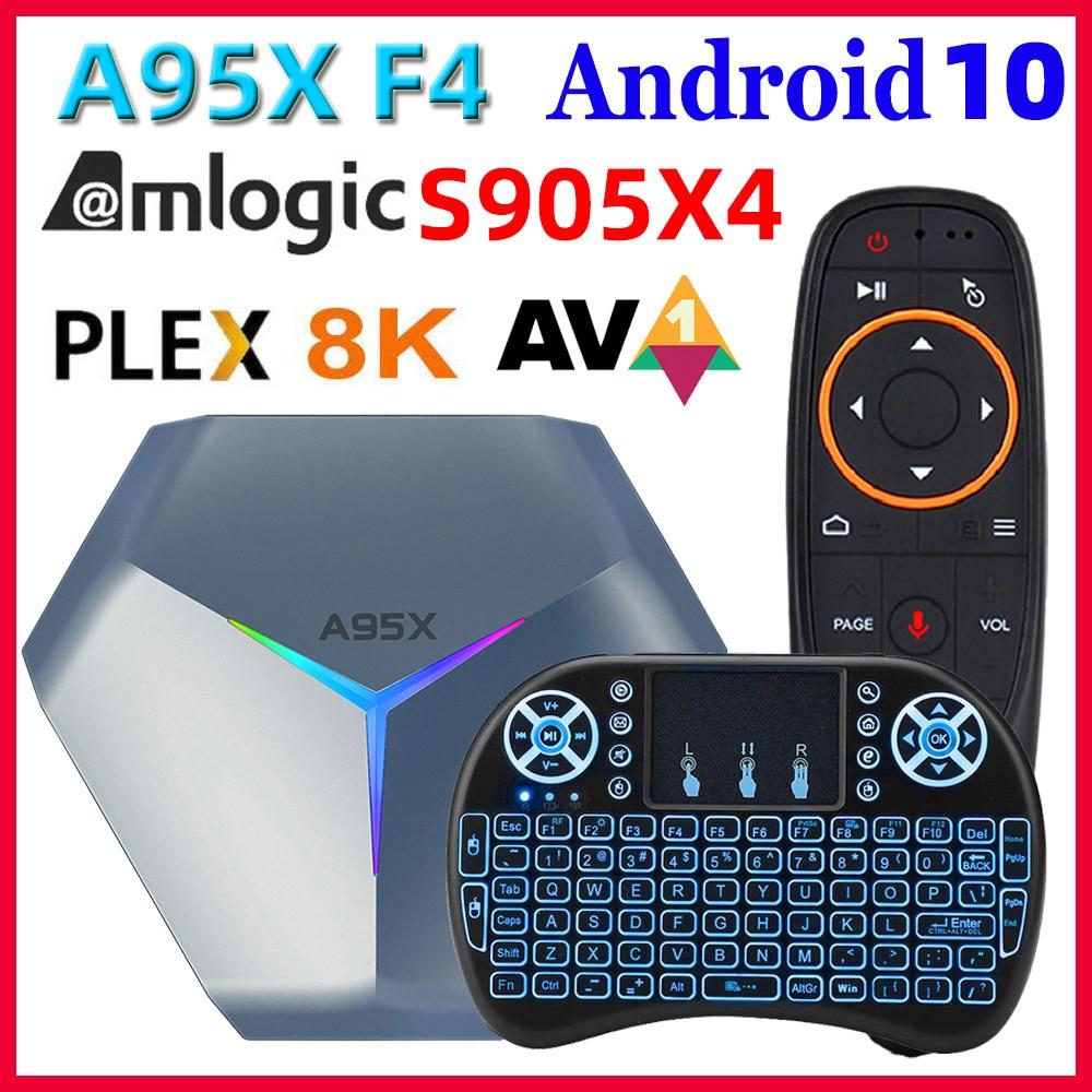 A95X F4 Amlogic S905X4 الذكية أندرويد 10 صندوق التلفزيون 4K HD يوتيوب 4GB RAM 32GB 64GB 128GB ROM 2.4G/5Ghz واي فاي RGB ضوء مجموعة صندوق