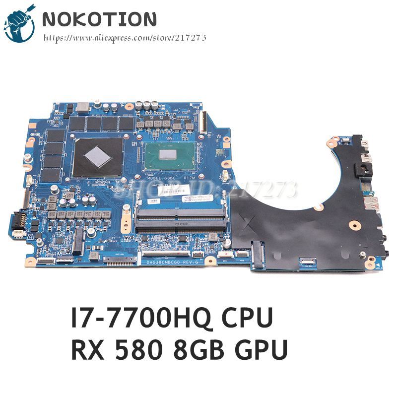 NOKOTION para HP 17-Un 17T-AN 17T-AN000 17-AN012DX placa base de computadora portátil I7-7700HQ CPU 8GB GPU 929522-601, 929522-001 DAG3BCMBCG0