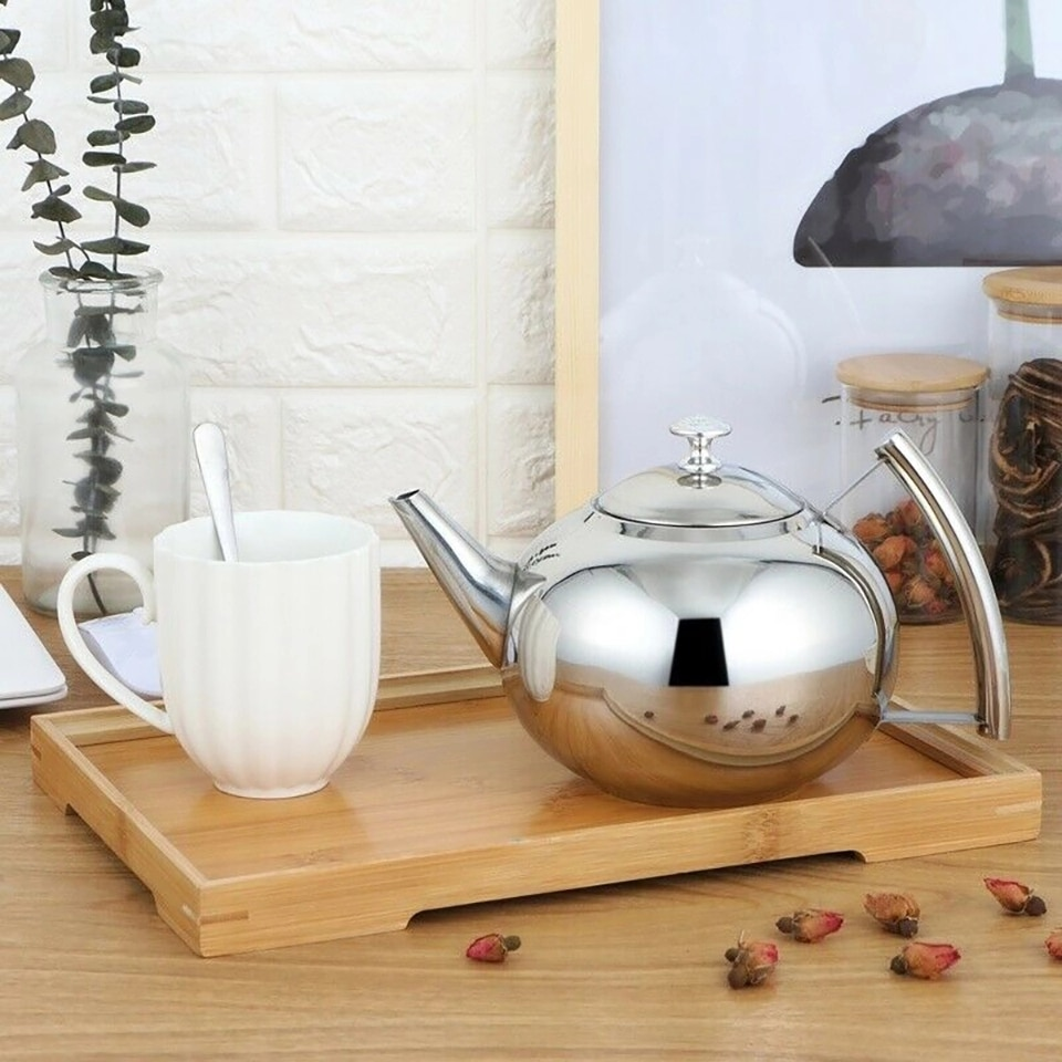 1L Stainless Steel Teapot With Infuser Filter Heat Resistant Tea Pot With Strainer Tea Induction Cooker Gas Stove Kettle yixing tea pot boutique purple clay xishi teapot ore beauty kettle master handmade teaware tea ceremony 188 ball hole filter
