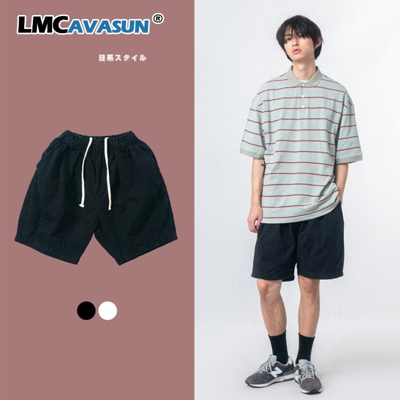 Lmc/men verão japão moda retro streetwear hip hop solto elástico na cintura preto branco shorts masculinos feminino casal de perna larga shorts