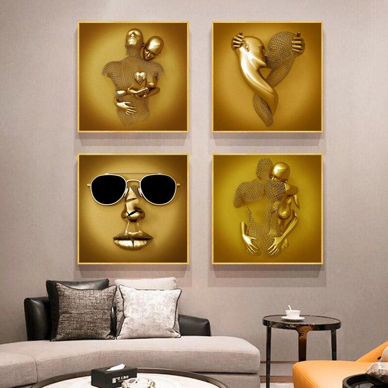 Абстрактная романтическая Металлическая статуэтка, художественная настенная живопись на холсте, HD плакаты и принты, настенная живопись дл...