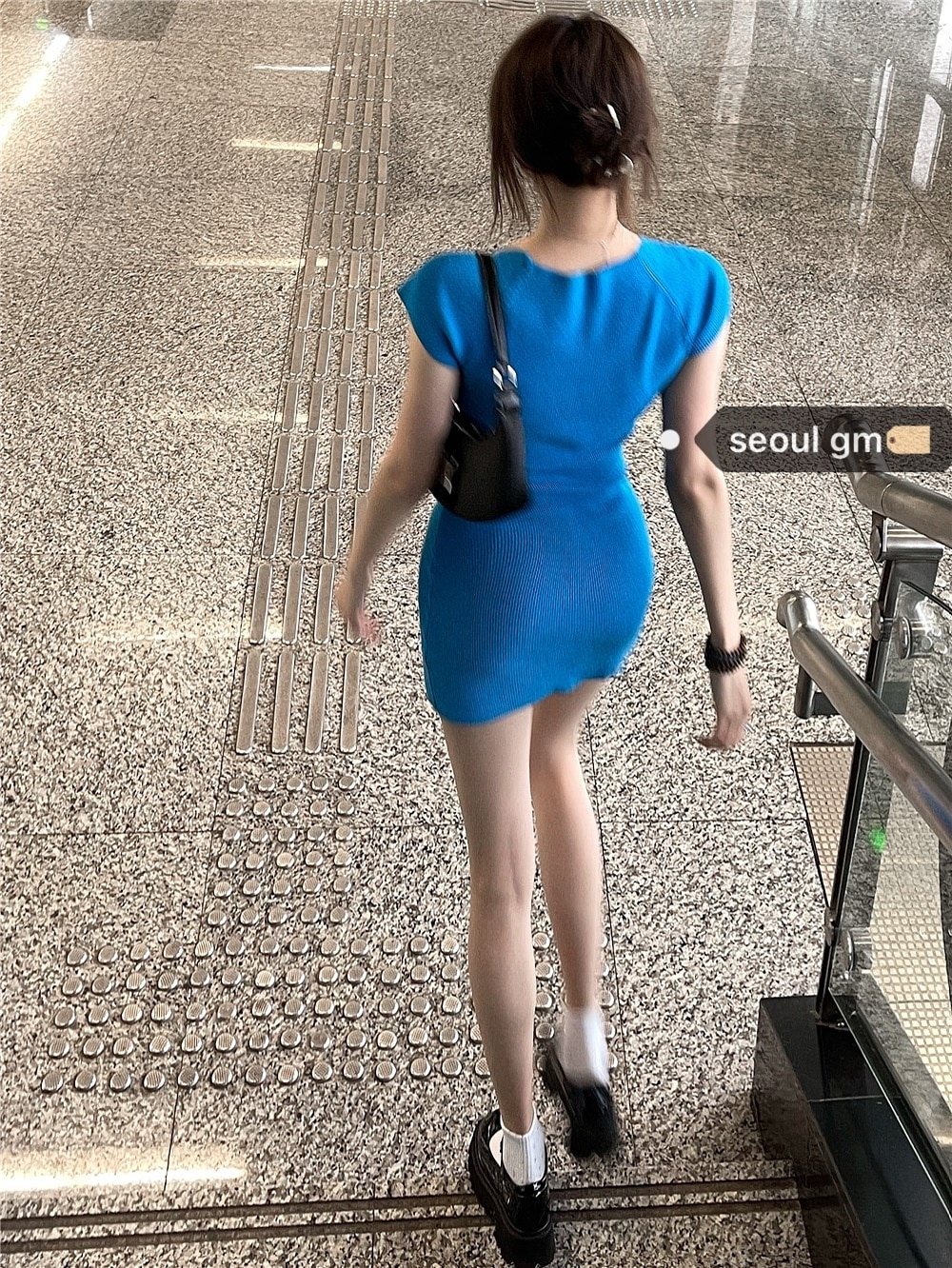 Wants To Resist Dress Hot Girls Korean Slim And Sexy Blue Knitted Bag Hip Small Woman