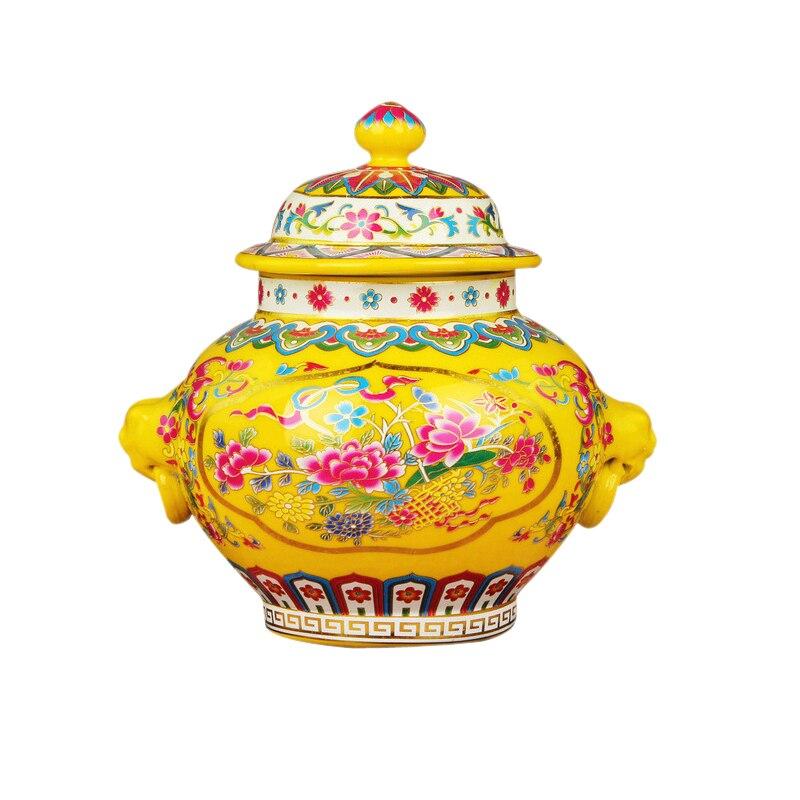 Jingdezhen antigo royal cerâmica cloisonne esmalte frasco vaso amarelo esmalte chapéu-coberto frasco ornamento presente criativo