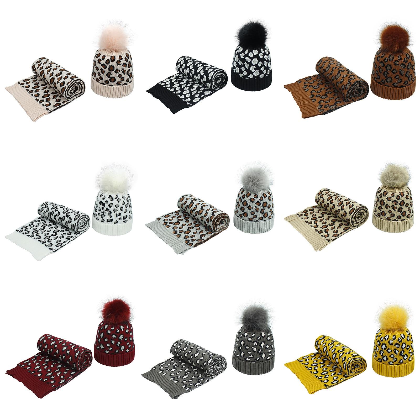 Winter Scarf Set Woman Men's Scarves Unisex Winter Scarf Luxury Brand Neckerchief Knitted Warm Scarf Hat Two-piece Set echarpe