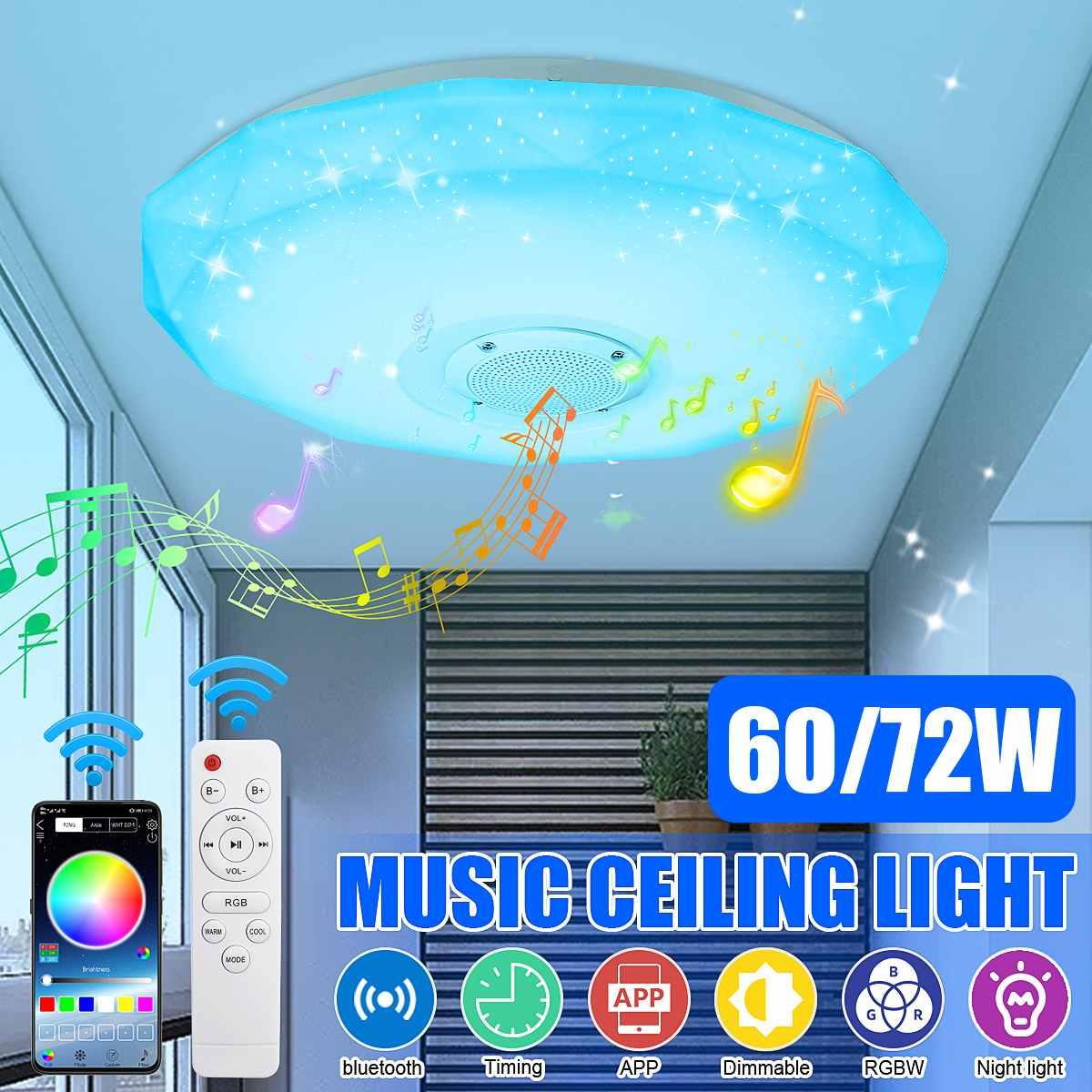 مصباح سقف RGB LED مع جهاز تحكم عن بعد ، مصباح سقف ذكي حديث مع موسيقى وبلوتوث وتطبيق للتحكم عن بعد ، مثالي لغرفة النوم ، 60/72W