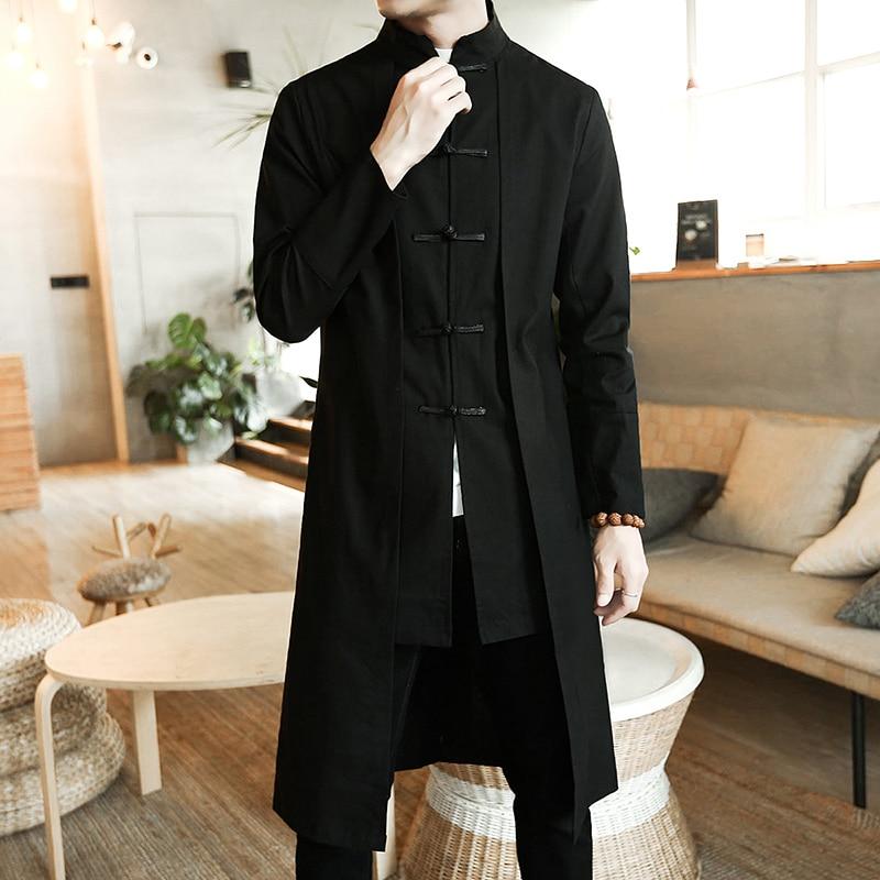 Men Loose Vintage Cotton Linen Trench Coat Men Fake two Pieces Cardigan Kimono Coat Male Long Chinese Style Black Windbreaker недорого