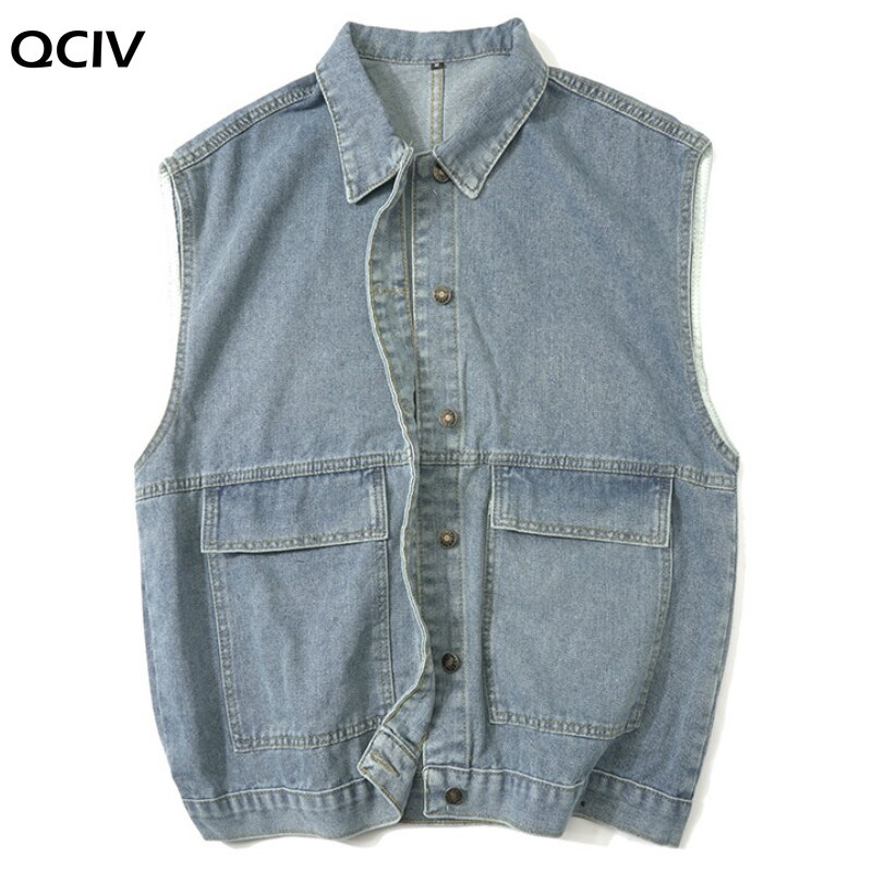 Men Jackets Denim Sleeveless Pockets 3XL Loose Chic Teens Solid Daily Outwear Mens Harajukyu High Street Korean Style  - buy with discount