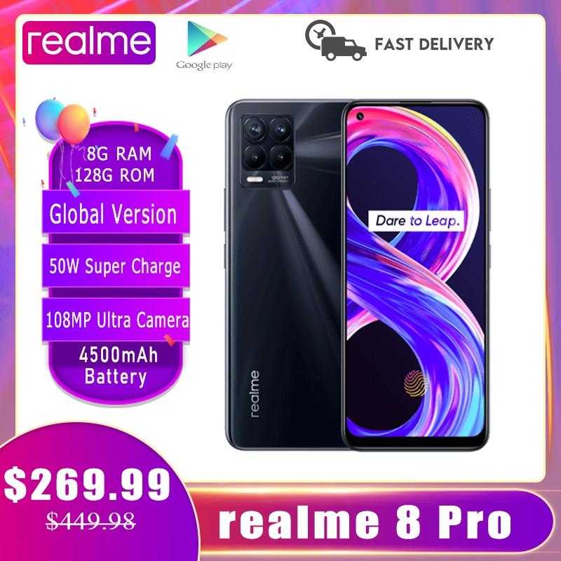 Перейти на Алиэкспресс и купить Realme 8 Pro глобальная Версия 8GB 128GB смартфон NFC 108MP ультра Quad Камера 6,4 дюймSuper AMOLED полноэкранный 50 Вт SuperDart заряда