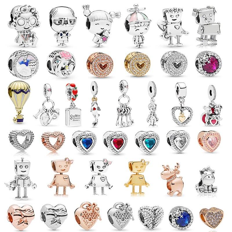 Посеребренные мальчики девочки микки Единорог шармы бусины Подвески подходят тонкие браслеты и ожерелье для женщин DIY любителей ювелирное дело