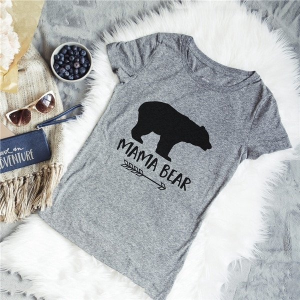Mama Bear Shirt Mother's Day Gift T-Shirt Mama Bear Letter Print Women T-Shirts Casual Cotton Funny T-shirt футболка mishka bear mop t shirt navy m