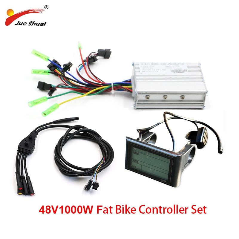 JS 48V 1000W bicicleta gorda controlador eléctrico conjunto de onda sinusoidal S900LCD de Cable impermeable para grasa de neumáticos de bicicleta eléctrica Kit Ebike