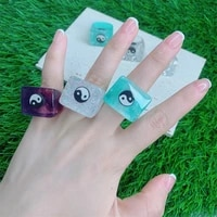 new trendy shiny colorful yin yang taichi transparent geometric square chunky resin acrylic rings for women party jewelry gifts