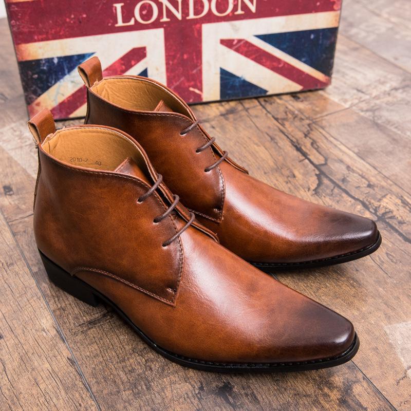 حذاء رجالي من جلد البولي يوريثان عالي الجودة ، حذاء كاجوال مريح قصير ، بسيط وكلاسيكي ، HC069