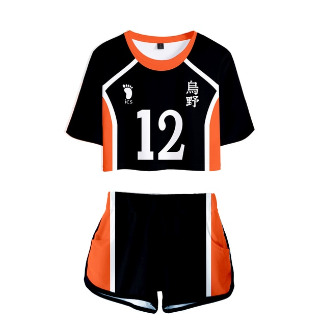 Popular Dew navel Sport bokuto akaashi Suit Women Two Pieces sets Volleyball Haikyuu Jersey Figure T-shirts+shorts Pants Clothes 6