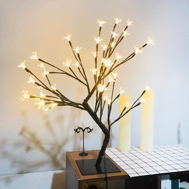 VKTECH DIY 24/48 LED Nacht Licht 220V EU Stecker Bonsai Kirschblüten Baum Licht Gypsophila Lichter Schlafzimmer Dekoration lampe