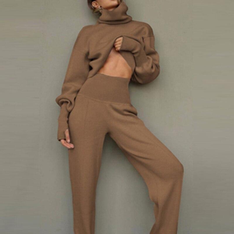 2021 الربيع عالية الخصر قطعتين مجموعة المرأة عادية الياقة المدورة بلوزات و السراويل الطويلة الدعاوى موضة ملابس السيدات الصلبة 2XL