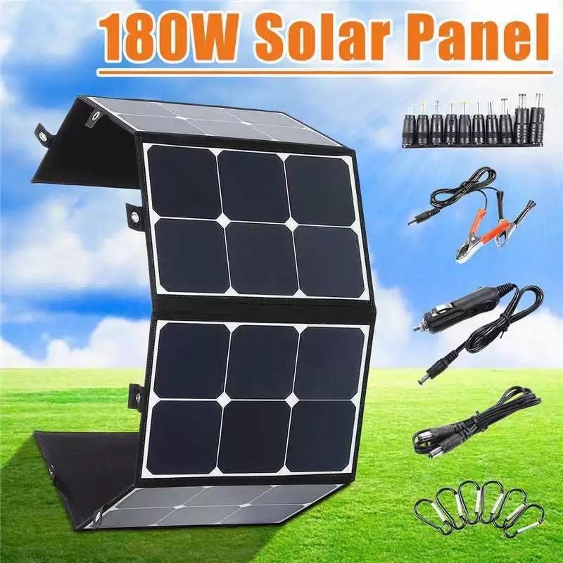 180 واط 12 فولت ألواح الطاقة الشمسية المحمولة ، خارج الشبكة شاحن شمسي قابل للطي ، مولد الطاقة الشمسية محطة للتخييم في الهواء الطلق