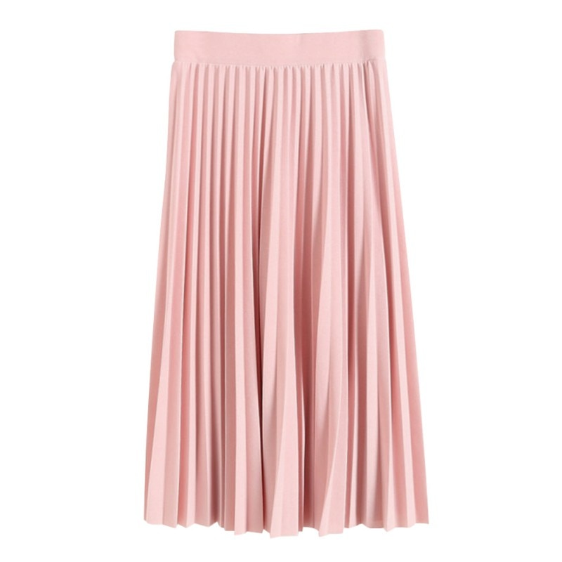 Primavera Verano todo-fósforo falda de gasa falda de cintura plegada Falda plisada departamento de verano falda delgada Rk # E