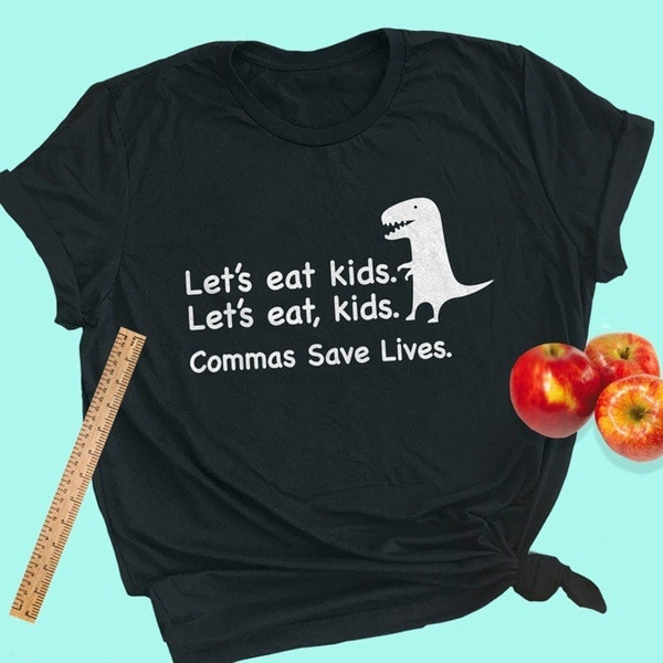2020 Funy Lets Eat Kids impreso Tee mujeres Cartoon Dinno Top S-3XL gráfico camisetas mujeres unif tumblr kawaii camiseta mujeres