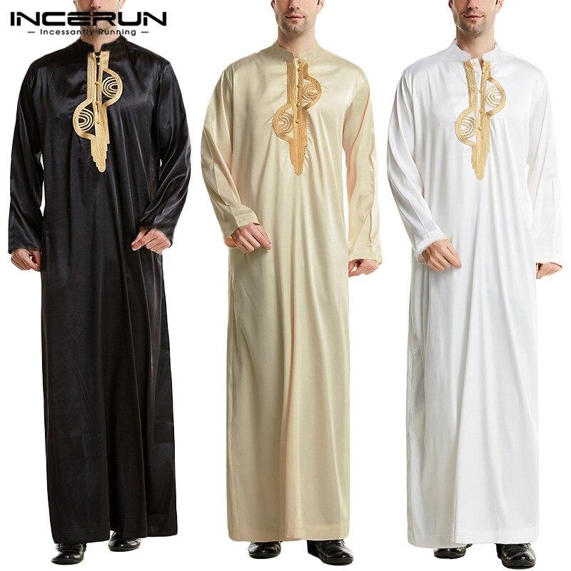 الرجال مسلم الإسلامية قفطان العربية التطريز طويلة الأكمام الوقوف طوق الجلباب خمر دبي قفطان الرجال Jubba ثوب S-5XL INCERUN