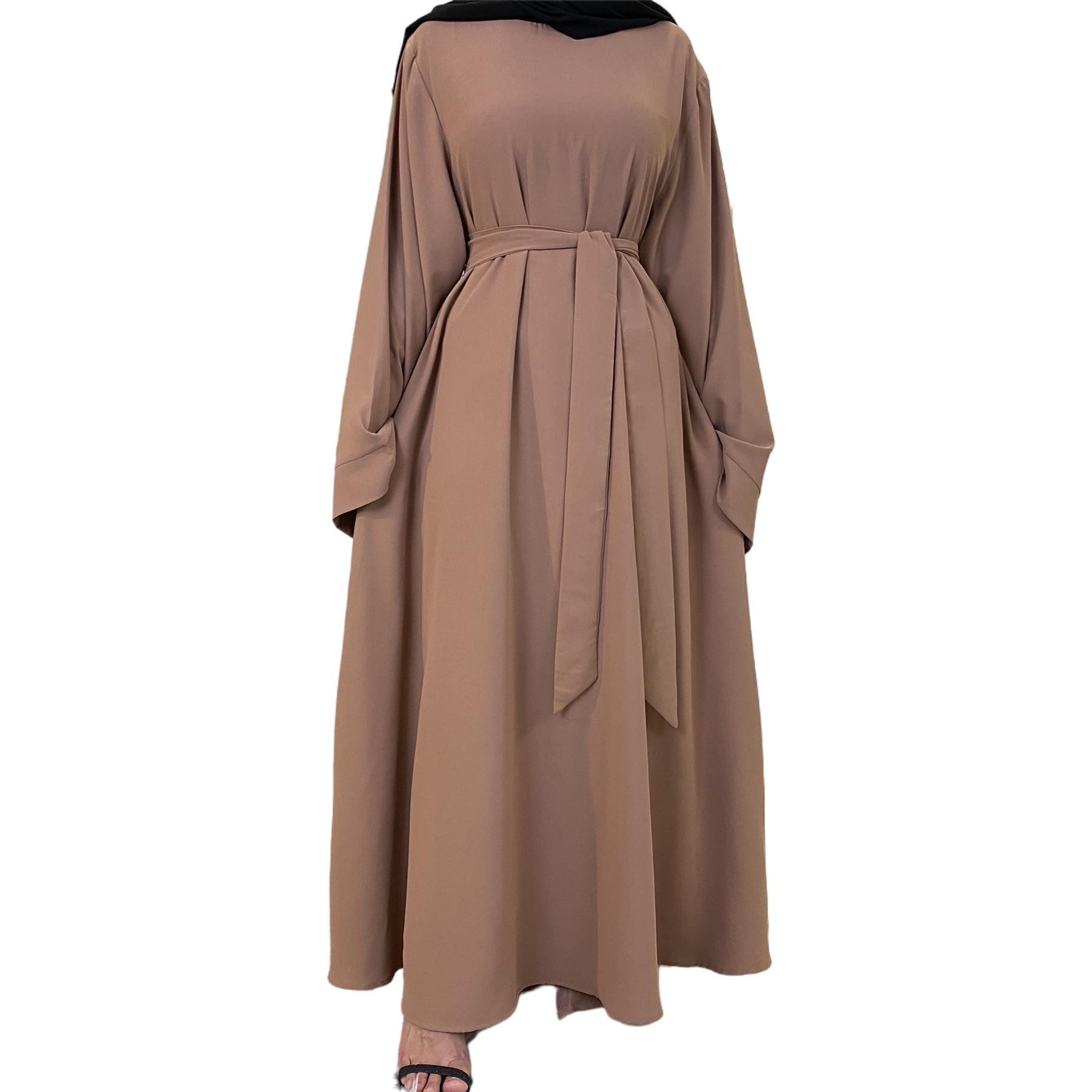 عباية دبي تركيا موضة مسلمة حجاب عباية للنساء لون سادة ملابس إسلامية فساتين إفريقية للنساء Musulman dgellaba