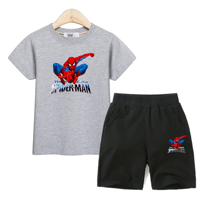 Camisetas de verano para niños, conjunto de pantalones con Traje De Hombre de araña para niños, trajes de manga corta con estampado de 2 piezas, ropa para niños 100% algodón, trajes para niños
