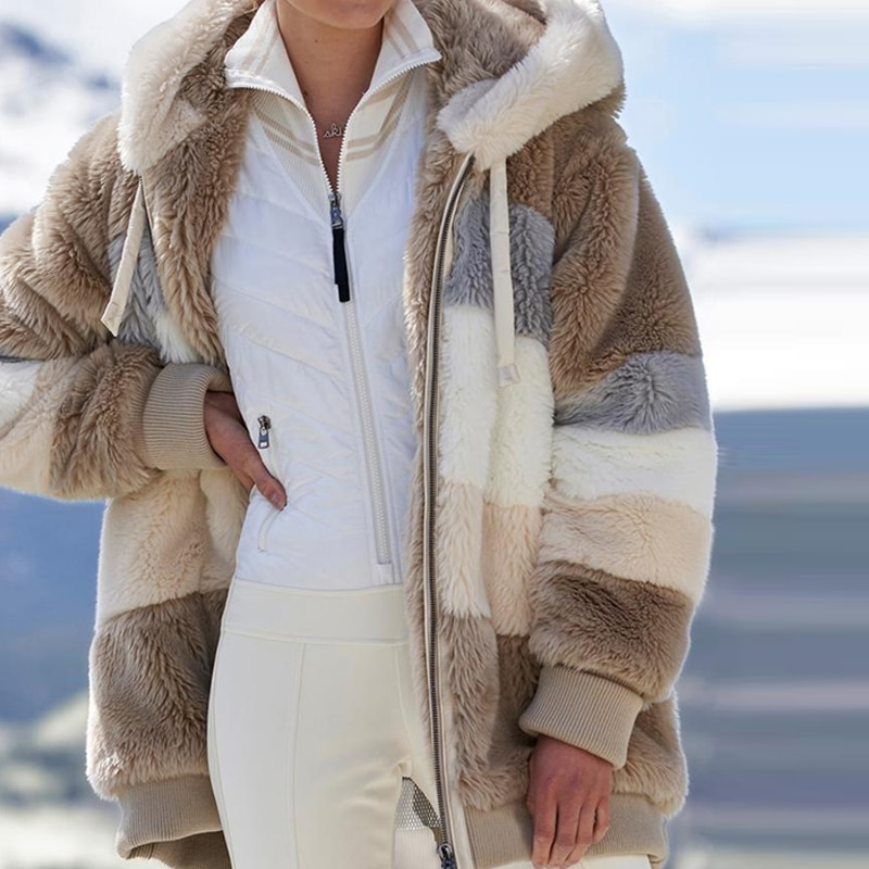 Women's Winter Coat Fashion jacket woman Casual warm jacket female Stitching Plaid Ladies Clothes Hooded Zipper Ladies Coat 2021