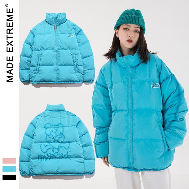 MADEEXTREME Bear pattern winter jacket men street wear Harajuku  down jacket 2021 New Brand  Autumn And Winter parkas DP827