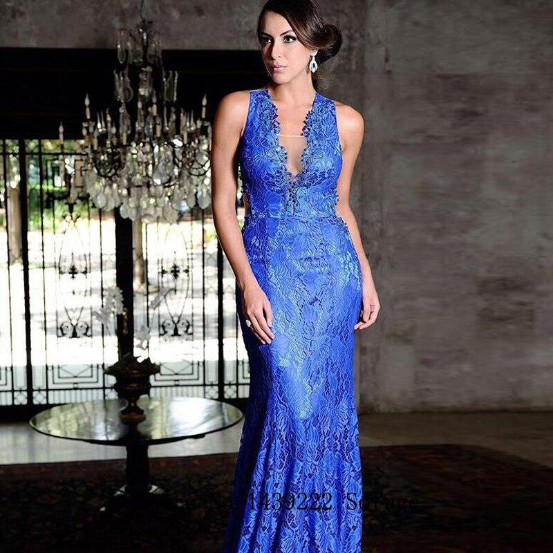 Blue V Neck Sexy Lace Evening Dresses Prom Beads Mermaid Appliques Arabic Vestidos De Fiesta De Noche Robe De Soiree Plus Size