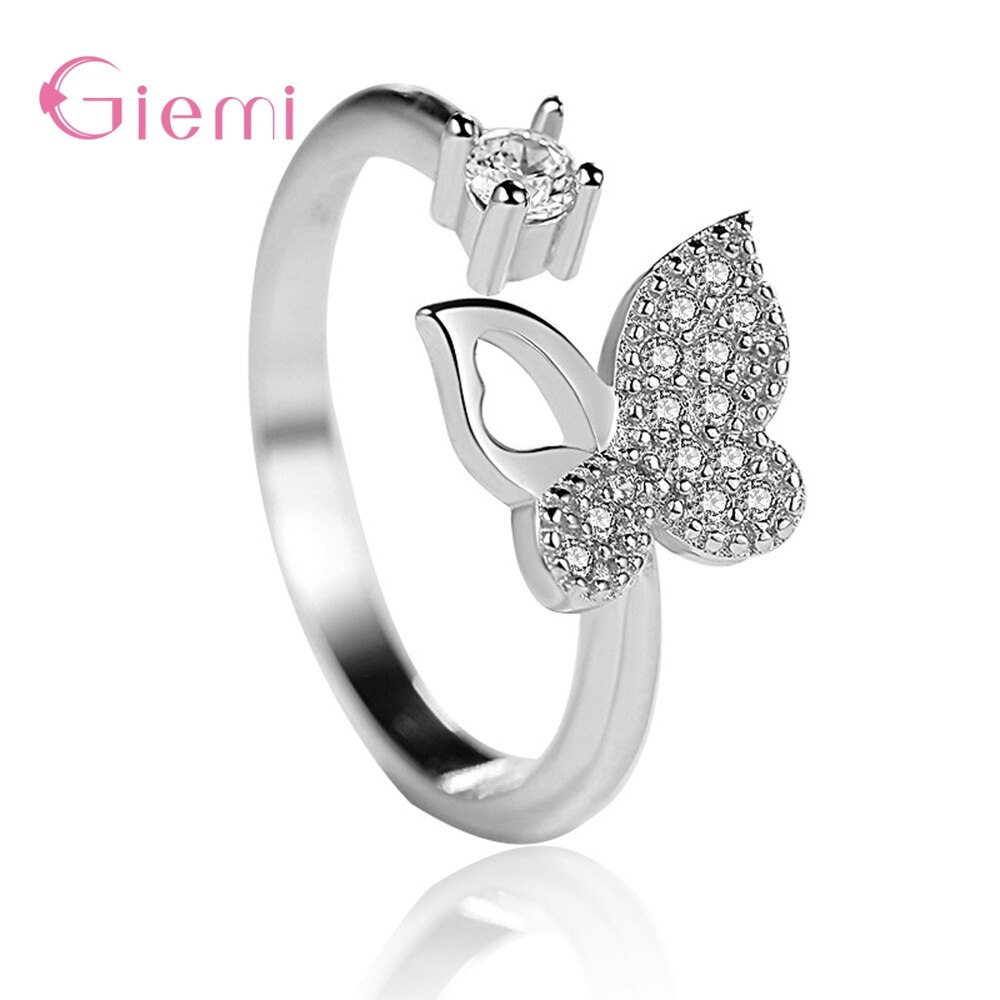 Trendy S925 Sterling Silver Classic Luxury Cute Butterfly Open Female Rings For Women Girls Party Wedding Jewelry Hot Sale Gifts