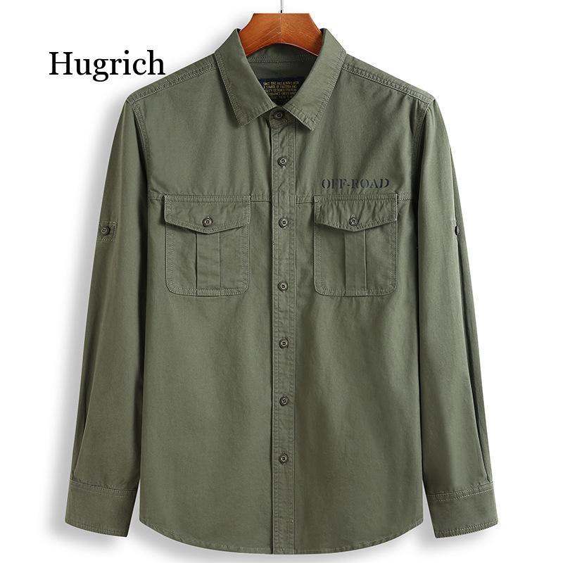 Осень 2021, 100% хлопковая винтажная Верхняя рубашка, Мужская одежда, рубашки в западном стиле, рабочая одежда в стиле милитари