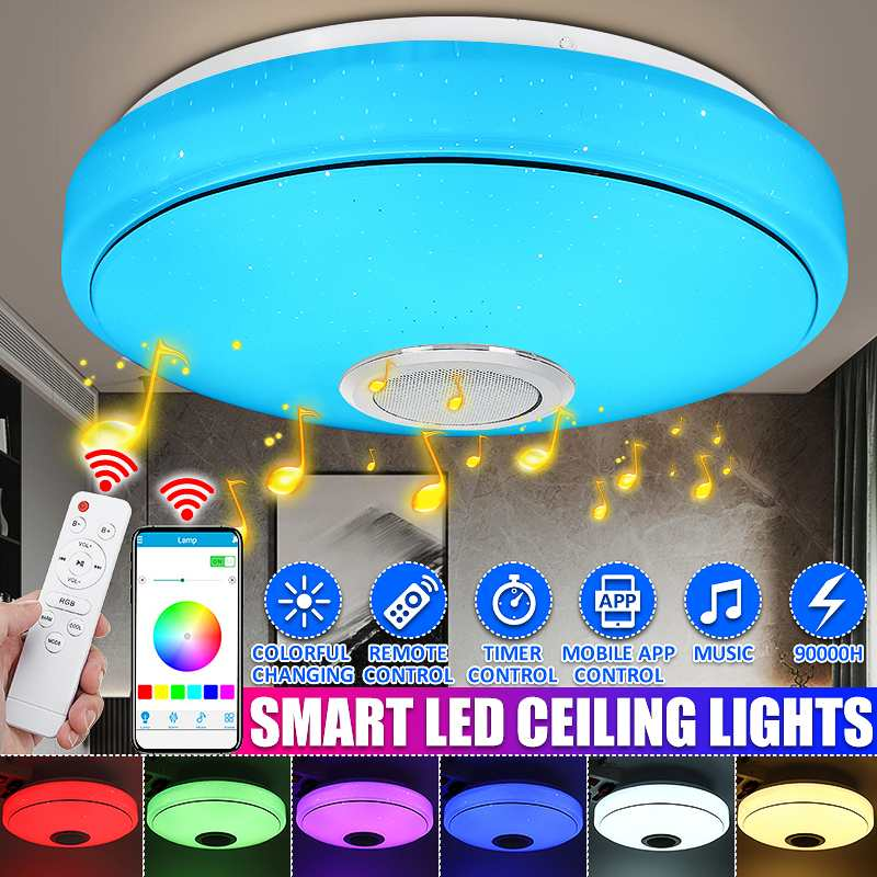 40/60/80W Modern RGB LED Ceiling Lights Home lighting APP bluetooth Music Light Bedroom Lamps Smart Ceiling Lamp+Remote Control