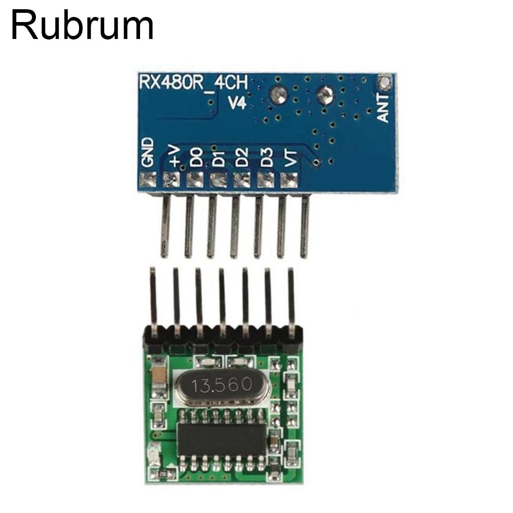 Rubrum 10 комплектов 433 МГц беспроводной 4-канальный декодирующий ресивер модуль + Широкий передатчик кодирования напряжения для 433 МГц светодиодный пульт дистанционного управления