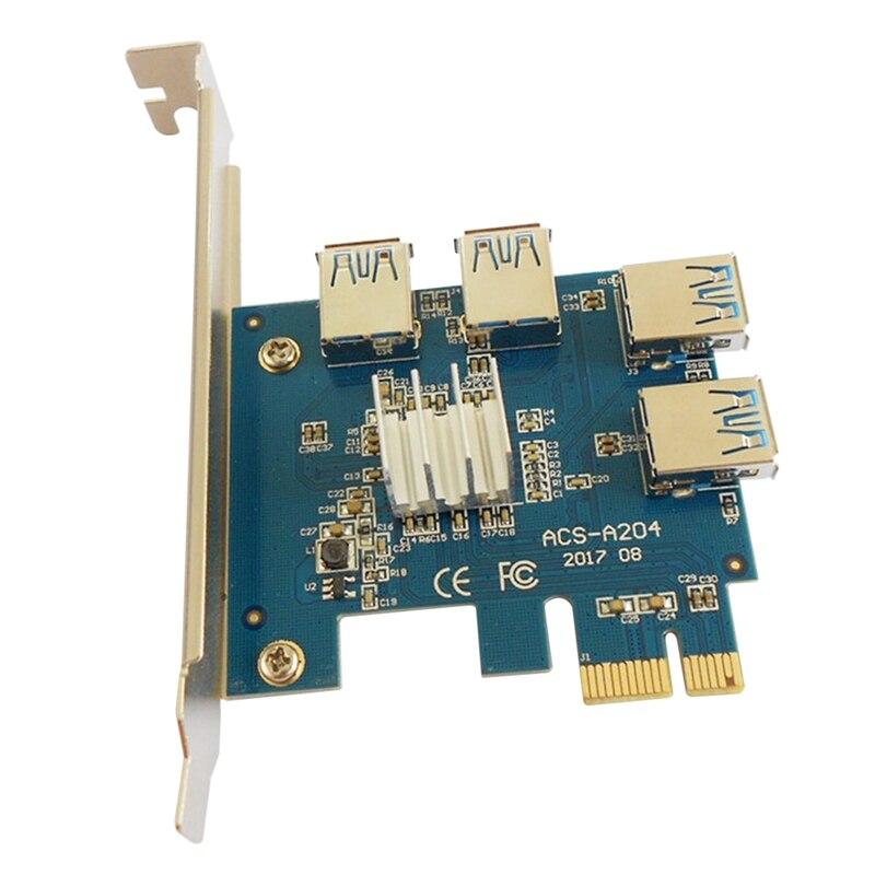 PCIE رايزر بطاقة 1 إلى 4 1X إلى 16X USB3.0 فتحة بطاقة التوسع مهايئ توزيع مضاعف لأجهزة تعدين البيتكوين التعدين BTC