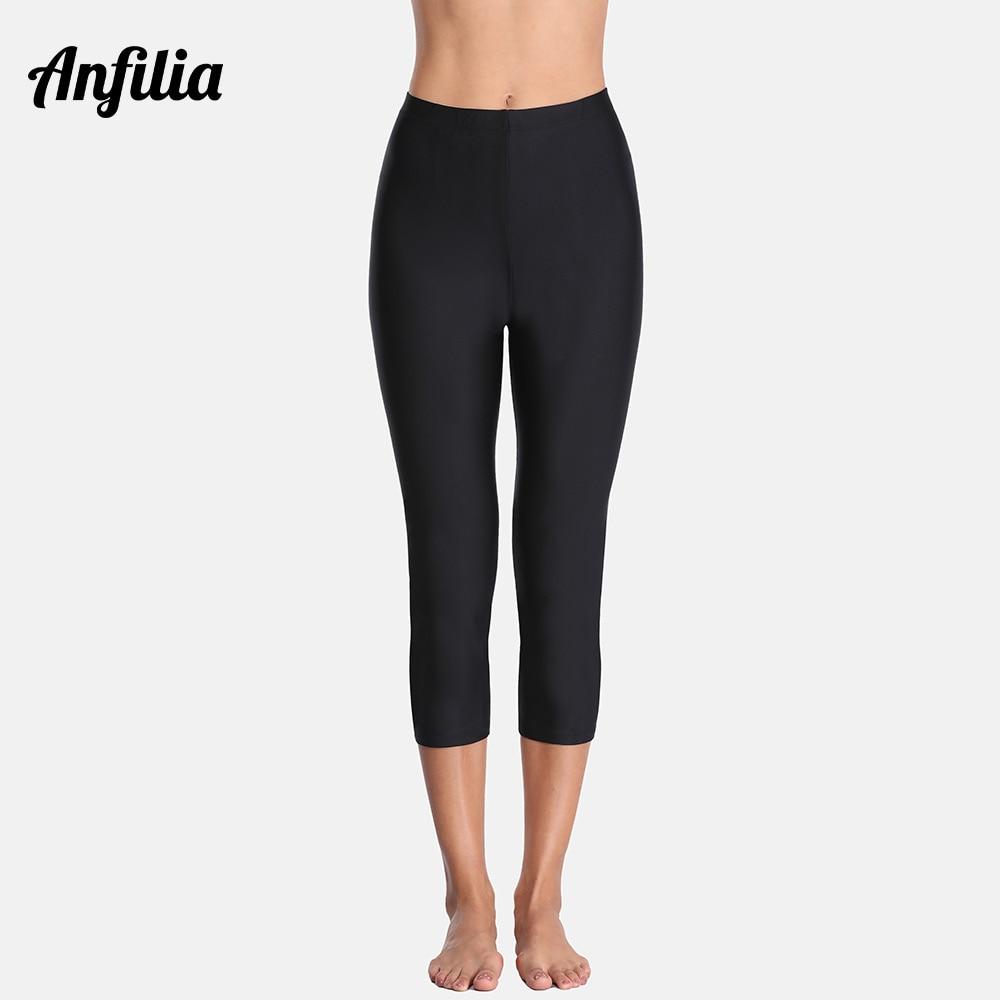 Anfilia Women Swimming Capris Pants Ladies High Waist Tankini Bottom Swimwear Capris Pants Boardshor